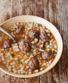 Moroccan Lamb Meatball & Couscous Soup- yum! Substituted with pearl barley. Real easy. Next time would bake meatballs longer and add veggies to the soup for interest and green!
