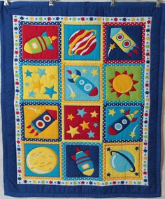 Boys Rocket Ship Baby Quilt with matching by MumsMagicStitches, $85.00