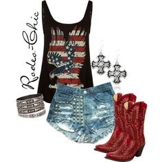 """""""Miss America"""" by rodeo-chic on Polyvore Red white and blue, shorts with cowboy boots by @corralboots; Earrings by @mtsilversmiths; fourth of july"""