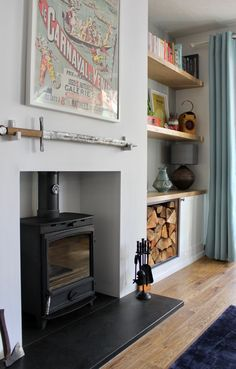 Bespoke alcove storage and wooden shelving purpose-built to maximise those tricky spaces, handmade using a range of responsibly sourced materials. Living Room Cabinets, Living Room Built Ins, Living Room Shelves, Living Room Scandinavian, Log Burner Living Room, Cottage Living Rooms, Floating Shelves Living Room, Alcove Cabinets, Cosy Living Room