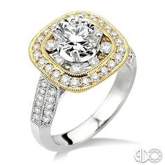 1 1/3 Ctw Round Cut Diamond Semi-Mount Ring in 18K White and Yellow Gold