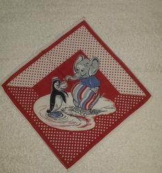 Vintage 1930s 1940s tom lamb kids handkerchief childs hanky elephant penguin