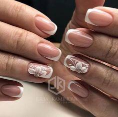 20 Ideas Bridal Nails Ring Finger Wedding Manicure For 2019 Bridal Nails Designs, Wedding Nails Design, Wedding Manicure, French Nail Designs, Best Nail Art Designs, Nail Manicure, Gel Nails, Nail Polish, French Nails