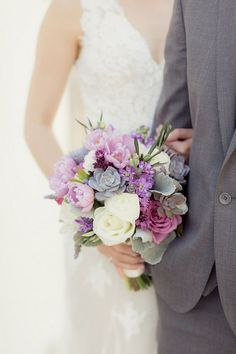 Romantic Purple, Ivory + Gray Wedding bouquet with succulents and tulips / Figlewickz Photography http://www.confettidaydreams.com/tree-chapel-forest-wedding/ @figlewiczphoto: