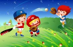 Children's baseball Vector material 2