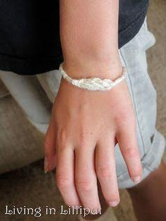 Fantastic Fingerknitting Projects | Living in Lilliput 2 finger bracelet, white yarn with metallic thread