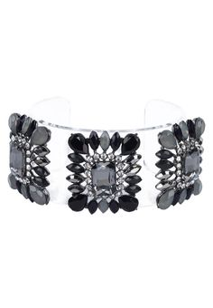 Embellished Cuff Bracelet by Something Borrowed. Unique bracelet with transparent plastic, with cushion cut crystal, looking good with this bracelet, you can wear it with to the evening party. With diameter 6.4. Perfectly fabulous! http://zocko.it/LESk6