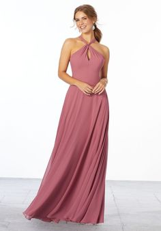 Chiffon Bridesmaid Dress with Keyhole Front Mori Lee Bridesmaid Dresses, Designer Bridesmaid Dresses, Wedding Dresses, Wedding Bridesmaids, Collor, A Line Gown, Chiffon Gown, Dream Dress, Bridal Gowns