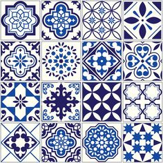 Spanish or Portuguese vector tile pattern, Lisbon floral mosaic, Mediterranean seamless navy blue ornament Ornamental tile background, background inspired by Spanish and Portuguese traditional tiles Luxury Mediterranean Homes, Mediterranean Style Homes, Mediterranean Architecture, Buch Design, Tile Design, Tile Art, Mosaic Tiles, Mundo Hippie, Traditional Tile