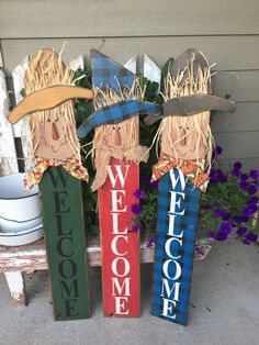 Fall Wood Crafts, Halloween Wood Crafts, Scarecrow Crafts, Fall Scarecrows, Thanksgiving Crafts, Fall Halloween, Holiday Crafts, Halloween Decorations, Porch Signs