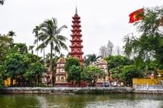 Tran Quoc pagoda in early morning in Hanoi Vietnam