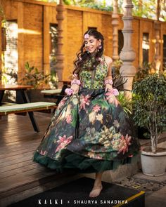 Bottle Green Lehenga In Satin With Multi Color Floral Print And Resham Embroidered Crop Top Online - Kalki Fashion Green Dress Outfit, Dress Outfits, Fashion Dresses, Green Lehenga, Crop Tops Online, Lehenga Style, Happy Pictures, Dark Forest, Green Fabric