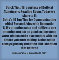 #quicktip #dementia #attention #memoryloss #smile #approach #ctcdcm Visit our website: http://www.CTCDementiaCareManagement.com