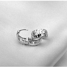 Silver with Platinum P Filigree Flower Huggie Earrings Fancy Earrings, Women's Earrings, Ear Piercings, Flower Designs, Filigree, Plating, Silver Rings, Ears, Sterling Silver