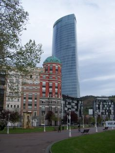 View of Iberdrola tower, the tallest building in Bilbao