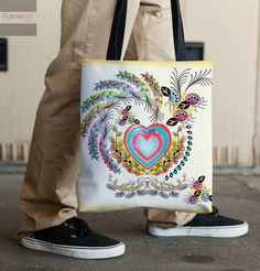 Tote Bag. Whimsical Shabby chic Decorative 15x15 by FamenxtFiesta
