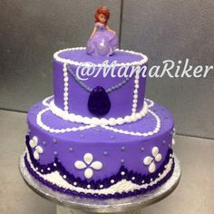 Two tier stacked Sofia the First birthday cake.  Buttercream iced and decorated. Purple and lavender.