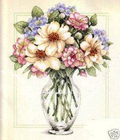 Dimensions Counted #crossstitch  #Flowers In Tall Vase #DIY #crafts #decor #needlework #stitching #gift