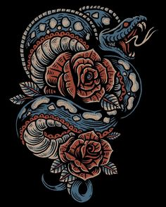 Heading over to @kustomthrills to have @adamthekid do his take on my latest illustration. #illustration #art #design #americana #tattoo #snake #roses #cobra