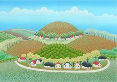 illustrated by Ivan Rabuzin Ivan Rabuzin, Landscape Art, Landscape Paintings, Circle Drawing, Art Beat, Henri Rousseau, Naive Art, All Art, Wonders Of The World