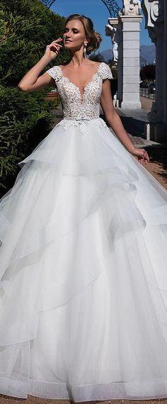 Wonderful Tulle Sheer Bateau Neckline A-line Wedding Dress With Lace Appliques & Belt & Ruffles #weddingdresses