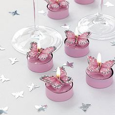 Pink Butterfly Tea Lights Pack buterflies buterfly butterflies candles decorations rex table tealights t-lights tlites t