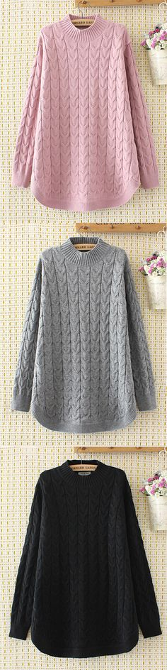 O-NEWE Casual Solid Long Sleeve Knit Sweater For Women #fashion #style #winter #fall #sweater