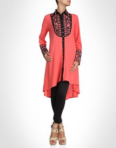 Coral georgette asymmetric tunic has an elaborately detailed neck yoke with floral detailed embroidery technique.Shop Now: www.kimaya.in