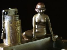 A Rare Art Deco 'Nude Flapper Girl by Pond' Lighter, as Lorenzl, c.1935
