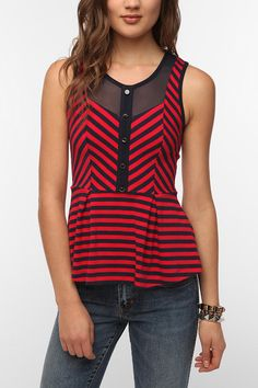 Pins and Needles Stripes and Mesh Peplum Tank Top Online Only
