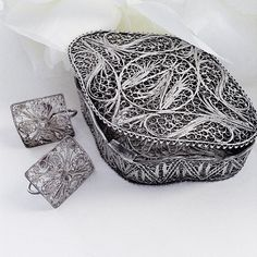 Sterling Silver Earrings, For Her, Silver Jewelry Box, Vintage Filigree Earrings, Silver Filigree Jewelry Box, Sterling Silver Keepsake Box