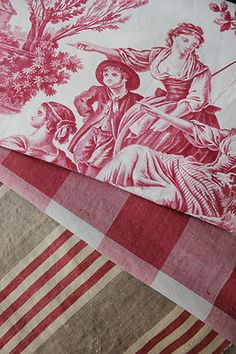 Antique French Toile and flax ticking ~ lovely for pillow making! ~ Wonderful timeworn fabrics. love the bottom stripe.