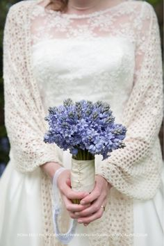 Bouquet of bluebells. Spring wedding. Photo by Fiona kelly photography