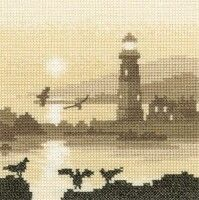 Cross Stitch Kits Guiding Light Cross Stitch Kit - Counted Cross Stitch kit includes fabric, threads, needle, chart and full instructions. Sepia-toned counted cross stitch design by Phil Smith. Counted Cross Stitch Kits, Cross Stitch Charts, Cross Stitch Designs, Cross Stitch Patterns, Cross Stitching, Cross Stitch Embroidery, Embroidery Patterns, Heritage Crafts, Cross Stitch Landscape