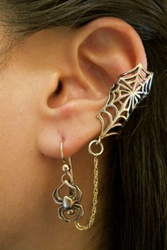 Bronze Web and Chained Spider Ear Cuff by martymagic on Etsy