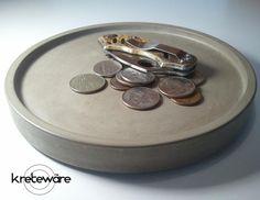 Runde konkrete Schlüssel oder Münze Tablett - Eingangsbereich Tabelle oder Night-Stand oder andere - Kreteware-Beton