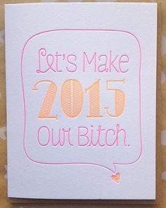 Happy New Year 2015 Card Set of 6 Letterpress New by jdeluce