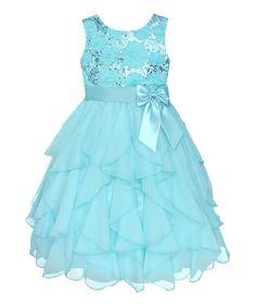 Easter Blue Sequin Daisy Cascade Dress - Infant, Toddler & Girls