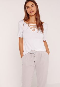Lace Up Detail V Neck T Shirt White - Missguided