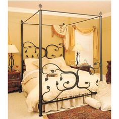 Eden Isle Canopy Wrought Iron Bed Hand Made by Iron Artisans in the U. Truly One-of-a-Kind, Handmade Bed Frame Beautiful Hand Made Iron Leaves Act as Finials Atop Canopy Heirloom Quality - Built to Last for Years 13 Different Cast Iron Bed Frame, Wrought Iron Bed Frames, Wrought Iron Headboard, Cast Iron Beds, Modern Canopy Bed, Iron Canopy Bed, Canopy Bedroom, Canopy Beds, Window Canopy