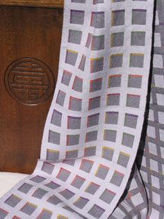 Sue Willingham - Double Weave Windows - hand-woven scarf