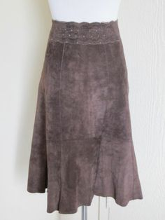 CAbi Size 6 Brown Leather Suede Knee Length A Line Skirt Style 380 | eBay