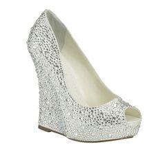 Benjamin Adams Mila Swarovski Crystal Wedge Wedding Shoes