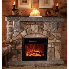 Unifire Polystone Electric Fireplace with Mantel — 4400 BTU, Model# Indoor Electric Fireplace, Electric Fireplace With Mantel, Fireplace Tv Stand, Home Fireplace, Faux Fireplace, Fireplace Inserts, Fireplace Design, Fireplace Mantels, Electric Fireplaces