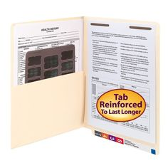 Smead End Tab Pocket Folder with Fastener, Straight-Cut Tab, 1 Pocket, Letter Size, Manila, 50 per Box (34100) : End Tab Shelf File Folders : Office Products