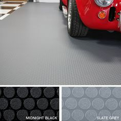 G Floor Small Coin Roll Out Vinyl Floor Covering. Comes in Black or Grey. Made in USA, lifetime manufacturer warranty. Garage Floor Finishes, Garage Floor Mats, Garage Floor Coatings, Garage Floor Epoxy, Rubber Garage Flooring, Vinyl Flooring, Flooring Ideas, Floor Rugs, Tile Floor