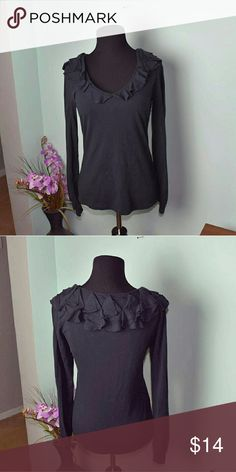Michael Kors Black Ruffle Designed Top In excellent condition! Super cute and looks amazing when put together with a cute outfit! Michael Kors Tops Blouses