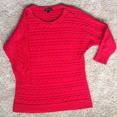 Banana Republic red dolman sweater M EUC, adorable! See third photo for color, a true Christmas red. Cotton/poly. Banana Republic Sweaters Crew & Scoop Necks