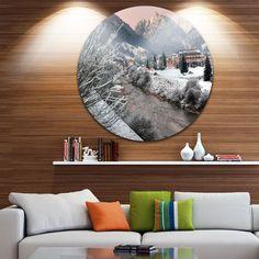 Designart 'Dolomites Winter Italy' Landscape Photo Circle Wall Art