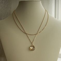 Bridesmaid necklace, bride's jewelry, double strand gold necklace, champagne crystal, Swarovski teardrop. $39.00, via Etsy.